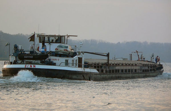 Barge ran aground in danube river and blocked fairway of regensburg